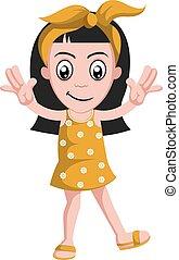 Happy girl, illustration, vector on white background.