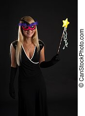 happy girl in a masquerade mask