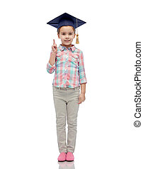 happy girl in bachelor hat or mortarboard - childhood,...