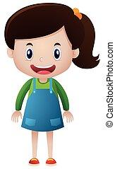 Happy girl in blue skirt