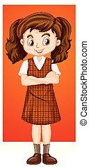 Happy girl in brown dress