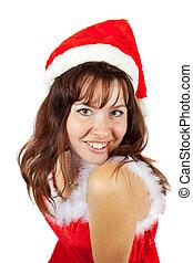 Happy girl in  christmas costume