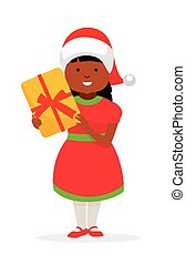 Happy girl in christmas hat with a gift for a holiday. African american family.