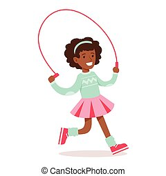 Happy Girl In Classic Girly Color Clothes Smiling Cartoon ...