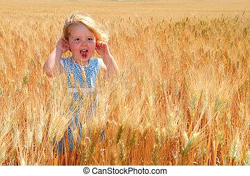 Happy Girl in Durum Wheat Field