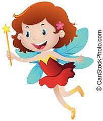 Happy girl in fairy costume