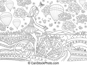 happy girl in fancy landscape for your coloring book