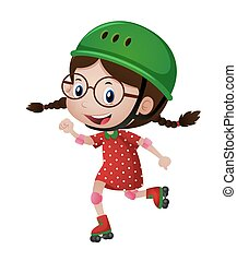 Happy girl in green helmet rollerskating illustration