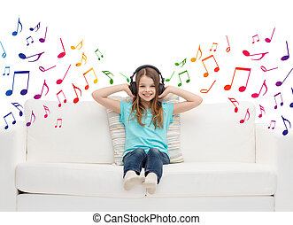 happy girl in headphones listening to music - leisure, ...