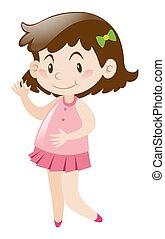 Happy girl in pink dress