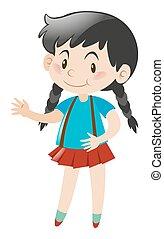 Happy girl in red skirt standing