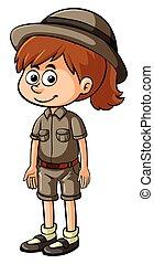 Happy girl in safari outfit