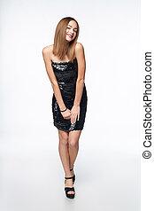 Happy girl in sequin dress - Full length girl in sequin...