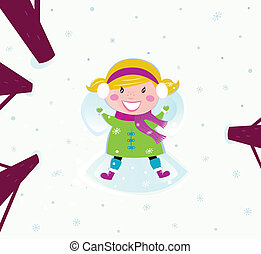 Happy girl in snow making angel - Happy christmas girl in ...