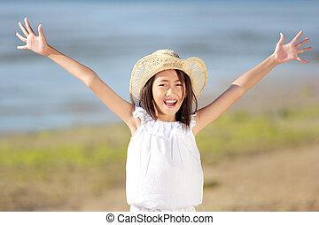 happy girl in the beach