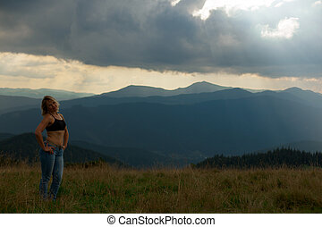 happy girl in the carpathian mountains