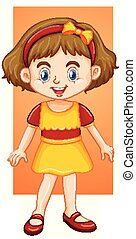 Happy girl in yellow dress