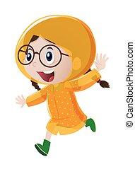 Happy girl in yellow raincoat