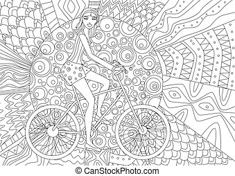 Happy girl is riding on a bicycle for coloring book