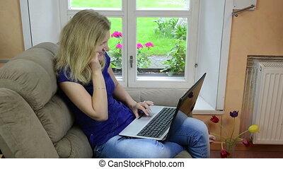 happy girl laptop phone