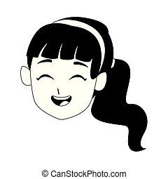 happy girl laughing cartoon icon