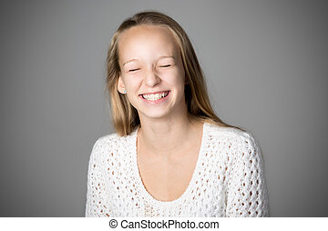 Happy girl laughing