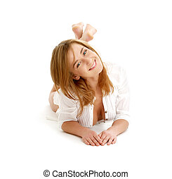 happy girl laying on the floor - portrait of happy girl...