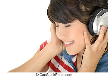 Happy girl listen music