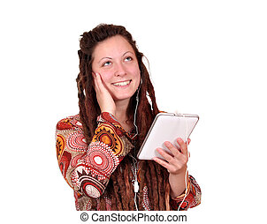 happy girl listening music on tablet pc