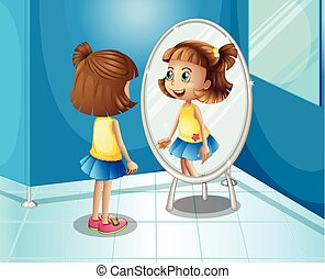 Happy girl looking at the mirror in bathroom