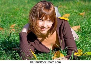 happy girl on green grass 2