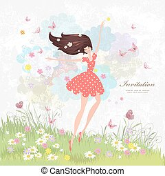 Happy girl on the floral meadow with pink butterflies.