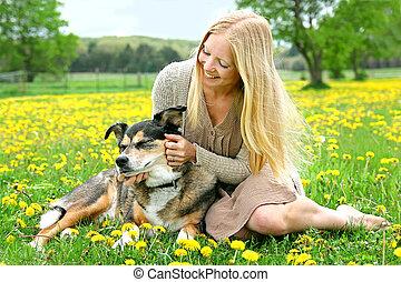 Happy Girl Outside PLaying With German Shepherd Dog