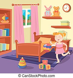 Happy Girl Playing Ball in Children Bedroom. Bedroom Interior with Toys. Vector illustration