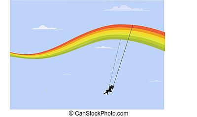 rainbow swing  - happy girl playing on the rainbow swing