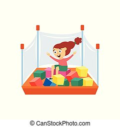 Happy girl plays in playpen with cubes flat cartoon vector illustration isolated.