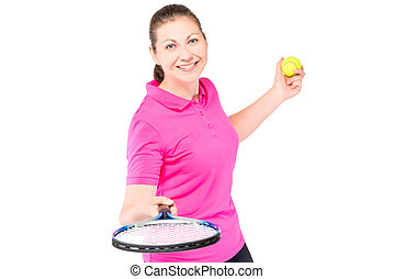Happy girl portrait on a white background with a tennis racket