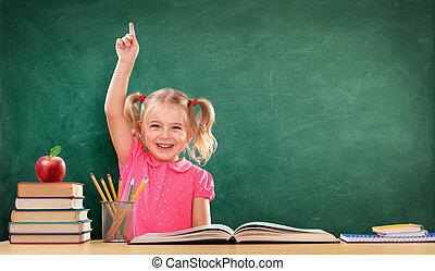 Happy Girl Raising Hand In The Classroom