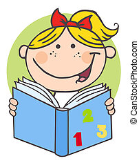 Happy Girl Reading A Book