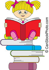 girl reading a book - Happy girl reading a book. Editable...