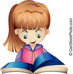 Happy girl reading book illustration