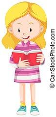 Happy girl reading book