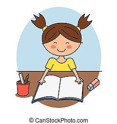 Happy Girl Reading Book Illustration