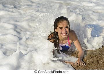 Happy Girl Relaxing in Water