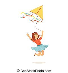 Happy girl running with her flying kite, kids outdoor activity colorful character vector Illustration