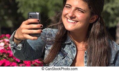 Happy Girl Selfie Springtime