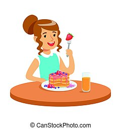 Happy girl sitting at the table and eating a cake, colorful character vector Illustration