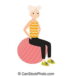 Happy girl sitting on gymnastic or balance ball and performing exercise isolated on white background. Sports activity, fitness and pilates for children. Flat cartoon colorful vector illustration.