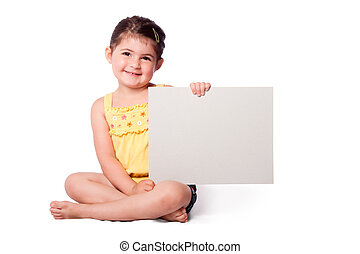 Happy girl sitting with whiteboard - Cute happy smiling girl...