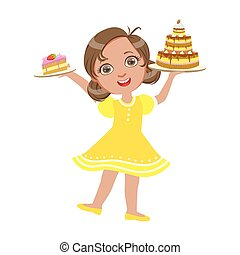 Happy girl standing with a birthday cake in her hand wearing a yellow dress, a colorful character